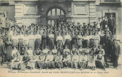 """CPA  FRANCE 71 """"Montceau les Mines, Groupe artistique syndical, 1916"""""""