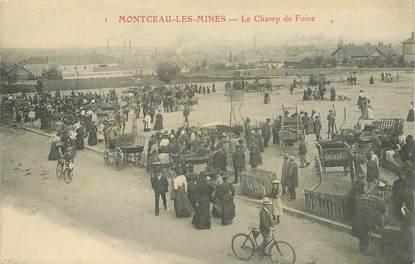 """CPA  FRANCE 71 """"Montceau les Mines, le champ de Foire"""""""