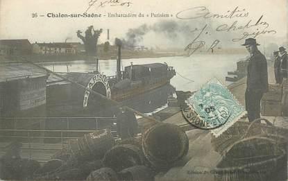 """CPA FRANCE 71 """"Chalon sur Saône, embarcadère du Parisien"""" / PENICHE / BATELLERIE"""