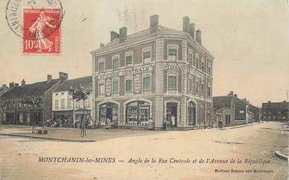 """CPA FRANCE 71 """"Montchanin les Mines, angle de la rue centrale et de l'avenue de la République"""""""