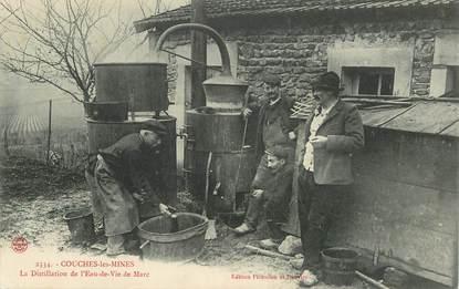 """CPA FRANCE 71 """"Couches les Mines, la distillation de l'eau de vie de Marc"""""""