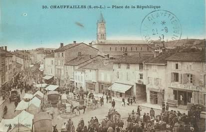 """CPA FRANCE 71 """"Chauffailles, place de la République"""""""