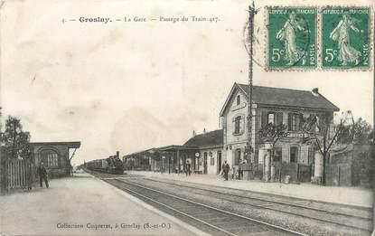 """/ CPA FRANCE 95 """"Groslay, la gare, passage du train"""""""