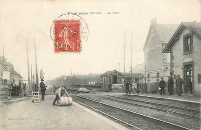 """CPA FRANCE 72 """"Champagné, la gare"""""""