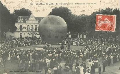 """CPA FRANCE 72 """"Chateau du Loir, le jour des Courses, l'ascension d'un ballon"""""""