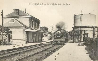 """CPA FRANCE 72 """"Beaumont sur Sarthe, la gare"""" / TRAIN"""
