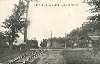 """/ CPA FRANCE 95 """"Grisy, arrivée de l'Express"""" / TRAIN"""