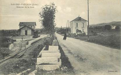 """CPA FRANCE 42 """"Saint André d'Apchon, quartier de la gare"""""""