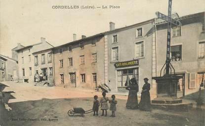 """CPA FRANCE 42 """"Cordelles, la place, Café boulangerie"""""""