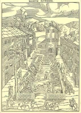 """/ CPSM FRANCE 88 """"Plombière Les Bains, le grand Bain au XVIème siècle"""""""