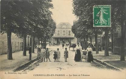 """/ CPA FRANCE 95 """"Cormeilles en Parisis, la gare et l'avenue"""""""