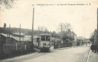 """CPA FRANCE 37 """"Vouvray, la gare des Tramways électriques"""""""