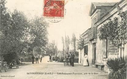 """CPA FRANCE 37 """"Savonnières, Café restaurant Fontverne, près de la gare"""""""