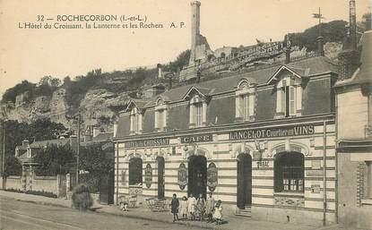 """CPA FRANCE 37 """"Rochecorbon, Hotel du Croissant, La Lanterne et les Rochers"""""""