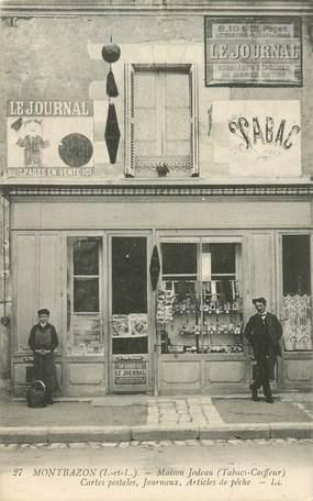 """CPA FRANCE 37 """"Montbazon, Maison Jodeau, Tabacs Coiffeur, Journaux, Cartes postales, articles de pêche"""""""