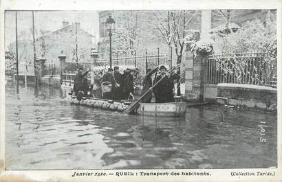 "/ CPA FRANCE 92 ""Rueil, transport des habitants"" / INONDATIONS 1910"