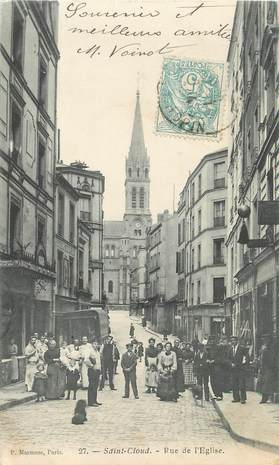 "/ CPA FRANCE 92 ""Saint Cloud, rue de l'église"""