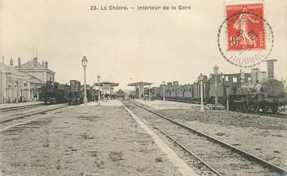 """CPA FRANCE 36 """"La Châtre, intérieur de la gare"""" / TRAIN"""
