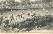 """84 Vaucluse CPA  FRANCE 84  """"Avignon, Arènes de Bagatelle, Guardians de Camargue conduisant un troupeau de taureaux"""""""