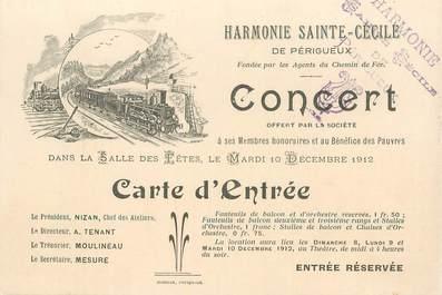 """CPA FRANCE 24 """" Périgueux, carton d'invitation concert Harmonie Sainte Cécile"""""""