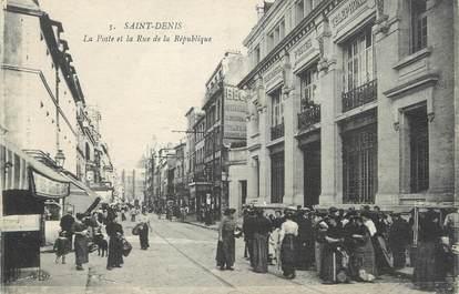 """/ CPA FRANCE 93 """"Saint Denis, la poste et la rue de la République"""""""