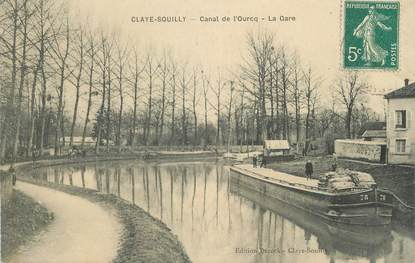 "/ CPA FRANCE 77 ""Claye Souilly, canal de l'Ourcq"" / PENICHE"