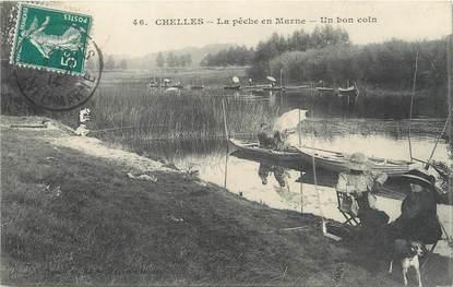 "/ CPA FRANCE 77 ""Chelles, la pêche en Marne"""