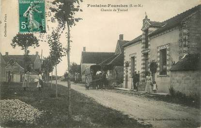 """/ CPA FRANCE 77 """"Fontaine Fourches, chemin de Trainel"""""""