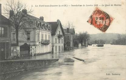 """/ CPA FRANCE 77 """"La Ferté sous Jouarre, le quai de Marine"""" / INONDATION"""