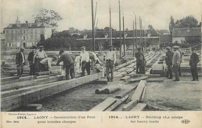 """/ CPA FRANCE 77 """"Lagny, construction d'un pont pour lourdes charges"""""""