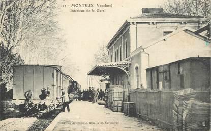 """CPA FRANCE 84 """"Monteux, intérieur de la gare"""" / TRAIN"""