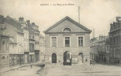 """CPA FRANCE 80 """"Conty, la place et les Halles"""""""