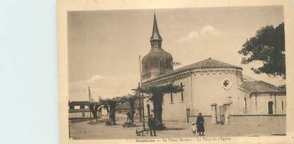 """CPA FRANCE 40 """"Soustons, le vieux Boucau, la place de l'Eglise"""""""