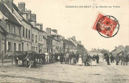 "CPA FRANCE 76 ""Gournay en Bray, le  Marché aux Vaches"""