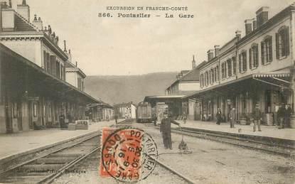 """CPA FRANCE 25 """"Pontarlier, la gare"""" / TRAIN"""