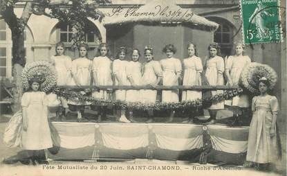 """CPA FRANCE 42 """"Saint Chamond, Fête mutualiste, Ruche d'Abeilles"""""""