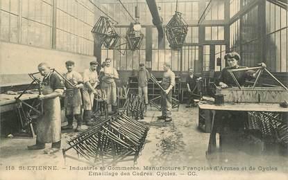 """CPA FRANCE 42 """"Saint Etienne, Industrie et Commerce, manufacture française d'armes et de cycles"""" / VELO"""