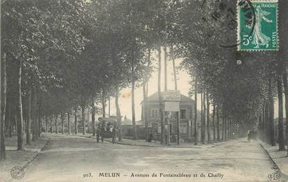 """/ CPA FRANCE 77 """"Melun, avenues de Fontainebleau et de Chailly"""""""