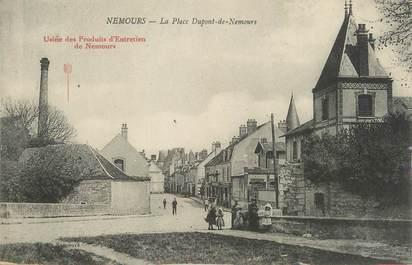 """/ CPA FRANCE 77 """"Nemours, la place Dupont de Nemours"""" / PUBLICITE"""