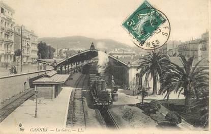 """CPA FRANCE 06 """"Cannes, la gare""""  / TRAIN"""