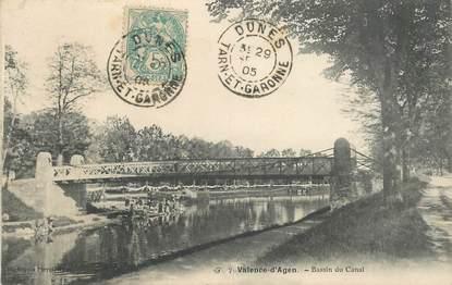 "CPA FRANCE 82 ""Valence d'Agen, bassin du canal"""