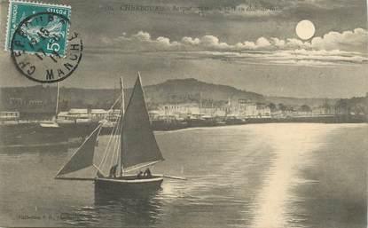 """CPA FRANCE 50 """"Cherbourg, barque sortant du Port au clair de lune"""""""