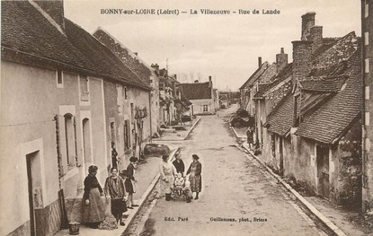 """/ CPA FRANCE 45 """"Bonny sur Loire, la Villeneuve, rue de Lande"""""""
