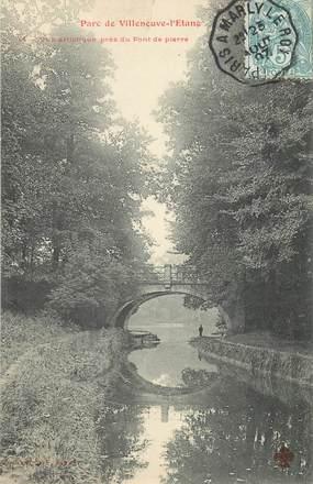 """CPA FRANCE 92 """"Parc de Villeneuve l'Etang, pont de pierre"""""""