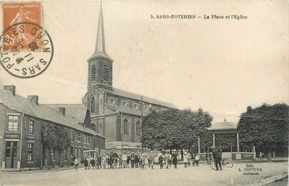 """/ CPA FRANCE 59 """"Sars Poteries, la place et l'église"""""""
