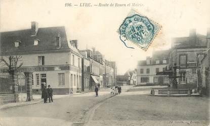 """CPA FRANCE 27 """"Lyre, route de Rouen et mairie"""" / CACHET AMBULANT"""