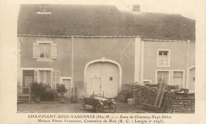 "/ CPA FRANCE 52 ""Champigny sous Varennes, gare de Charmoy Fayl Billot"""