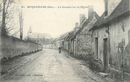 """/ CPA FRANCE 60 """"Ricquebourg, la grande rue et l'église"""""""