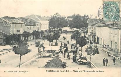 """CPA FRANCE 47 """"Casteljaloux, place de l'avenue de la gare"""""""
