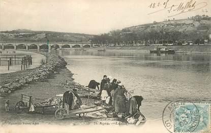 """CPA FRANCE 47 """"Agen, la  Garonne, les laveuses"""""""